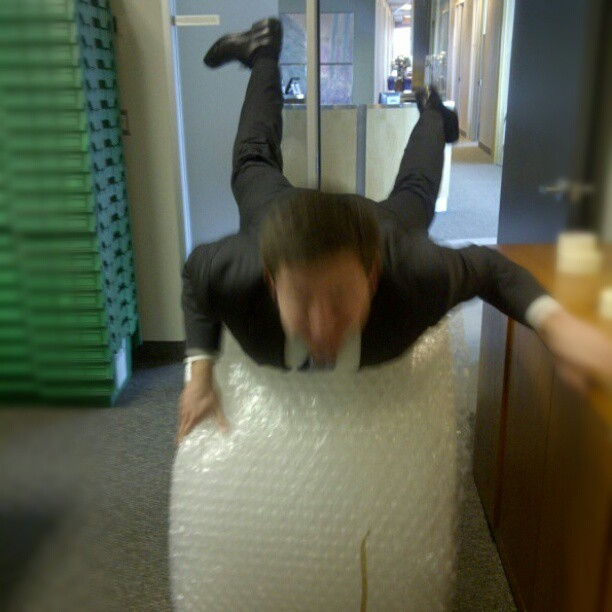 It was a productive day. Yes, that's a roll of bubblewrap, why do you ask? #wooooo