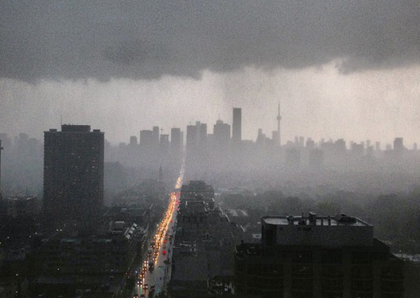 Toronto's flash flood and stormy weather on Vine