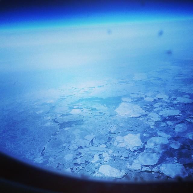 Flying over the Arctic ocean
