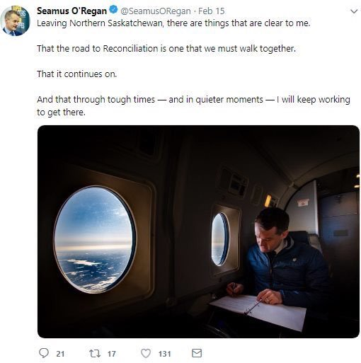 Seamus O'Regan tweets about reconciliation from a private jet